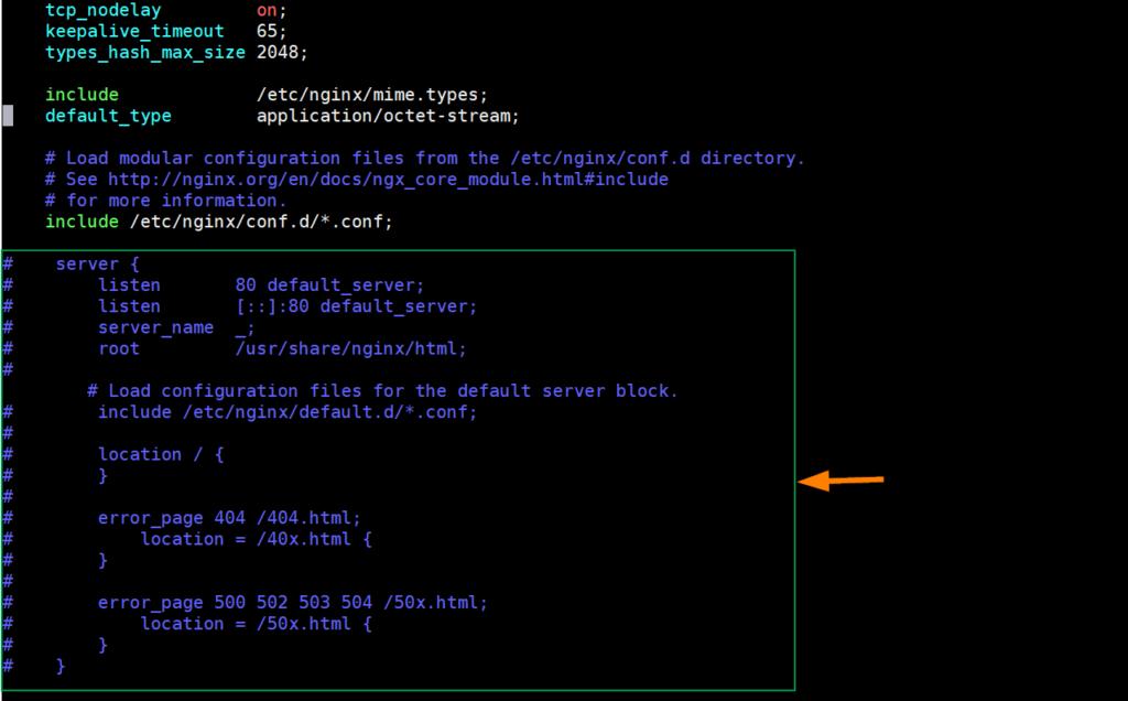 Comments-Out-Default-server-section-nginx-centos8