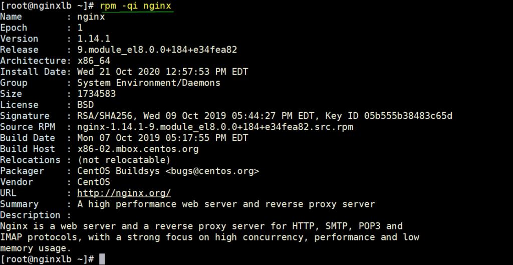 NGINX-Info-rpm-command-linux