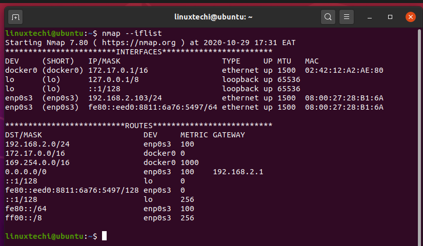 nmap-list-interface-routes