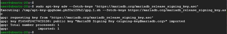 Import MariaDB GPG key