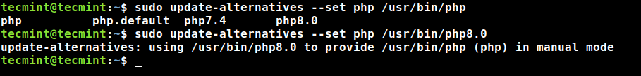 Set PHP 8 Version