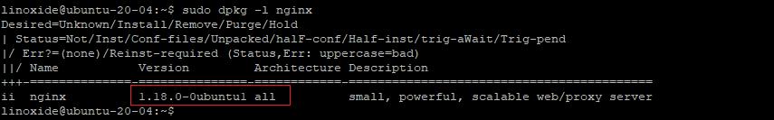 check nginx version Ubuntu