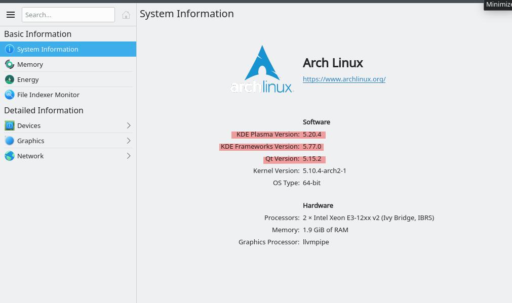 KDE version in Arch Linx