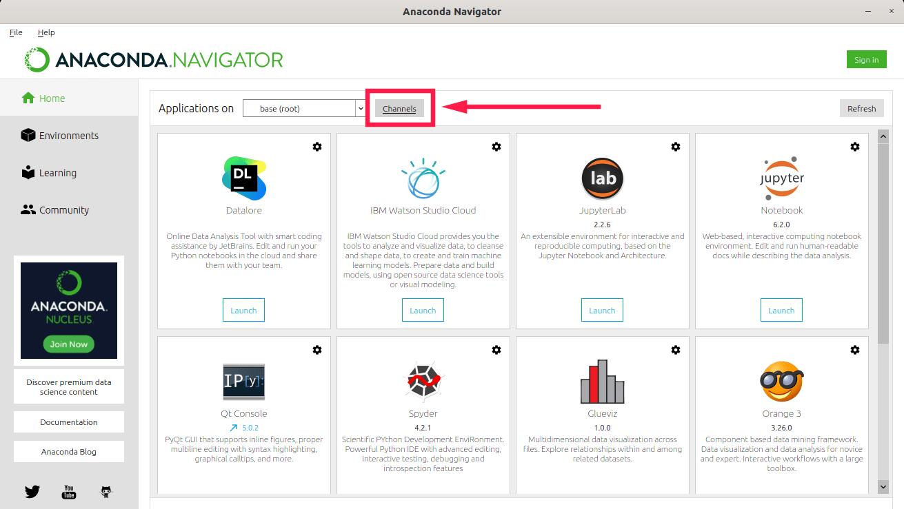 Click Channels button in Anaconda Navigator GUI