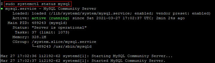 Check the status of MySQL service