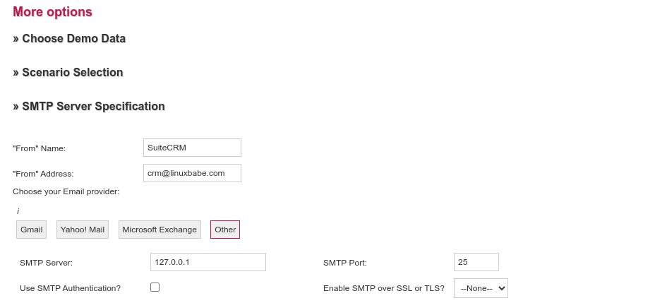 suiteCRM SMTP settings