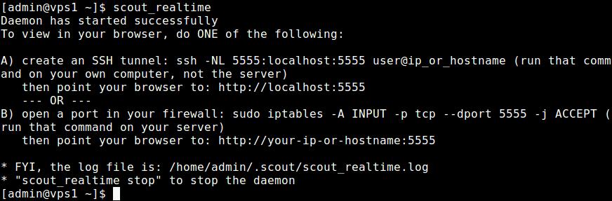 Start Scout Realtime on Server