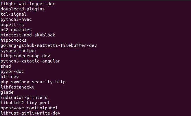 apt-cache pkgnames output