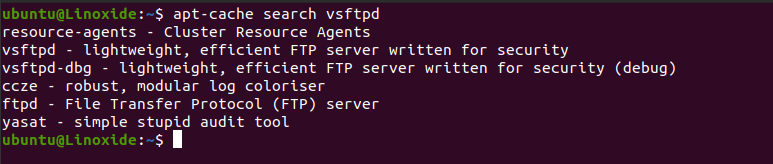 apt-cache serach vsftpd package
