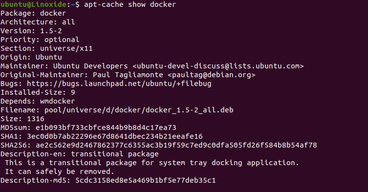 apt-cache show docker package in detail