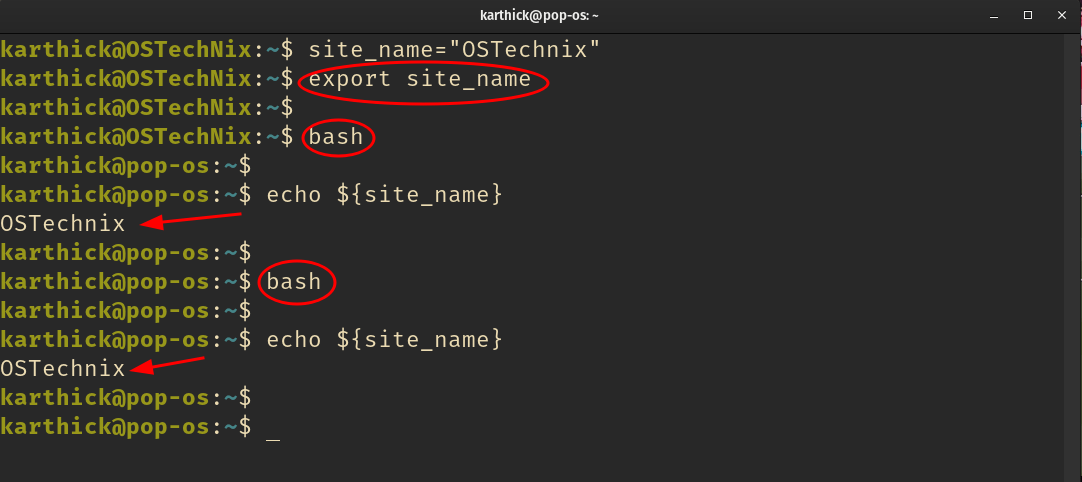Exported variable