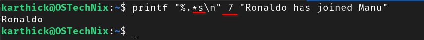 Asterisks precision modifier