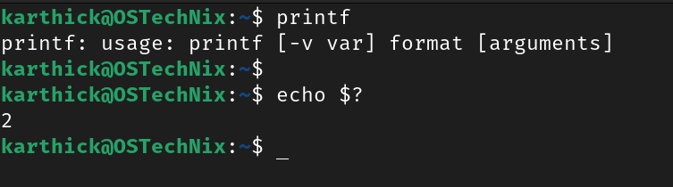 Printf without arguments