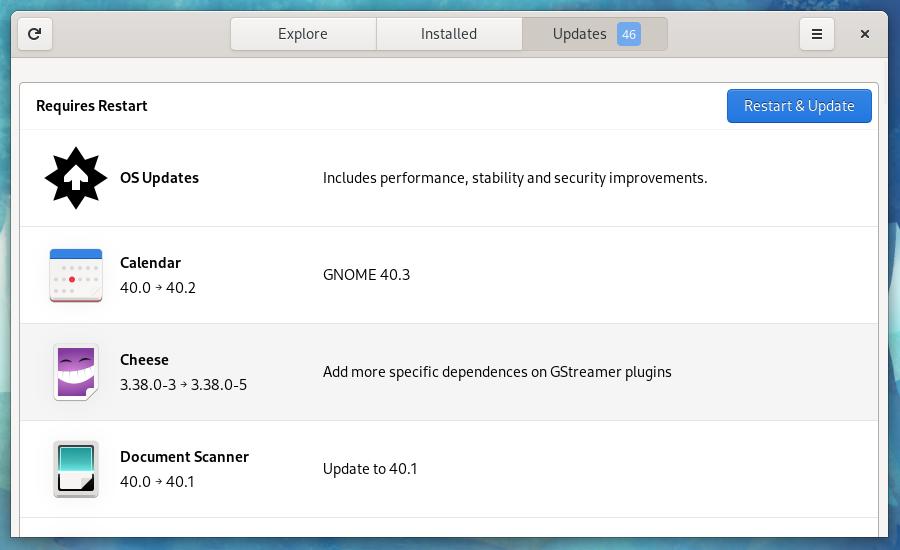 Fedora Update using Gnome Software